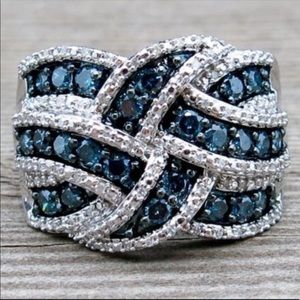 New Luxury 925 Silver Sapphire Ring